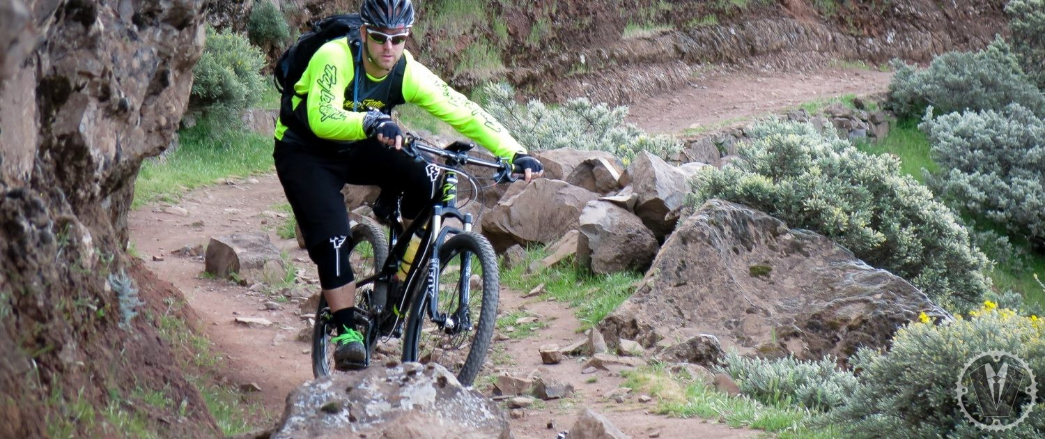 mountain biking Gran Canaria Daniel riding a rocky section