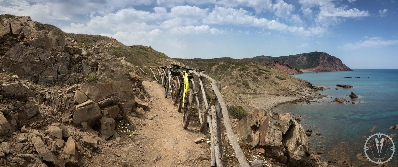 mountain biking Menorca bikes on a coastal track