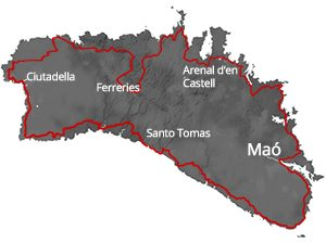 map view of Menorca