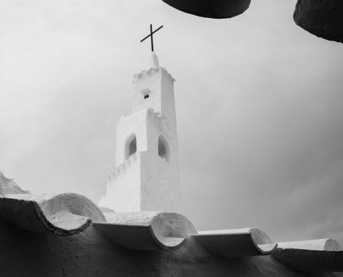 mountain biking Menorca church in Binibeca