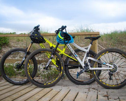 mountain biking Menorca parked bikes