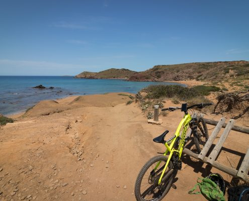 mountain biking Menorca parked bike