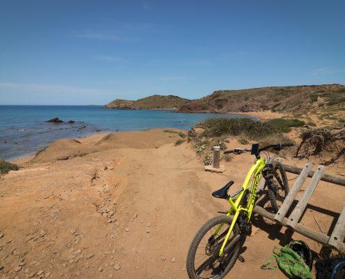 mountain biking Menorca parked bike