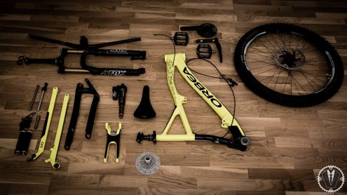 picture of disassembled mountain bike